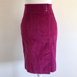 Bebe Magenta Corduroy Pencil Skirt